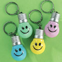 Plastic Smile Face LightUp Key Chains